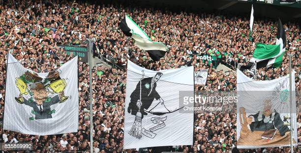 Fans of Moenchengladbach voice their opinion against the DFB with banners ahead of the Bundesliga match between Borussia Moenchengladbach and 1 FC...