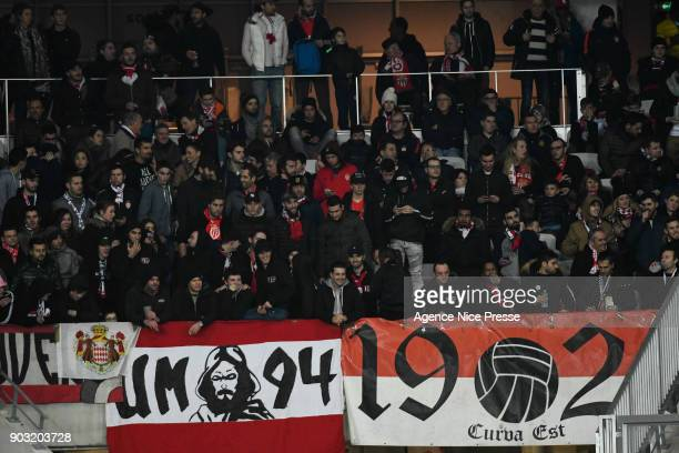 Fans of Monaco during the League Cup match between Nice and Monaco at Allianz Riviera Stadium on January 9 2018 in Nice France