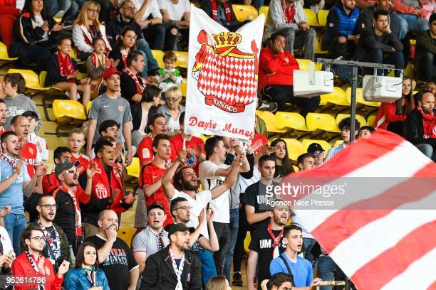 Fans of Monaco during the Ligue 1 match between AS Monaco and Amiens SC at Stade Louis II on April 28 2018 in Monaco