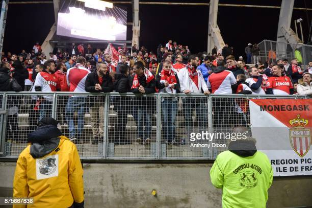 Fans of Monaco in the stand during the Ligue 1 match between Amiens SC and AS Monaco at Stade de la Licorne on November 17 2017 in Amiens