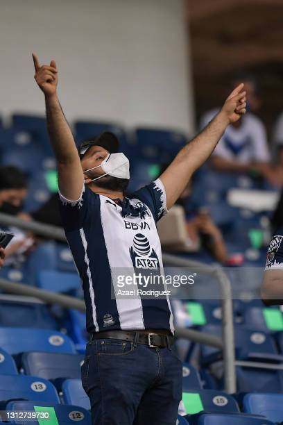 Fans of Monterrey are seen inside the BBVA Stadium after over a year of restriction due to the Covid pandemic during a second leg match between...