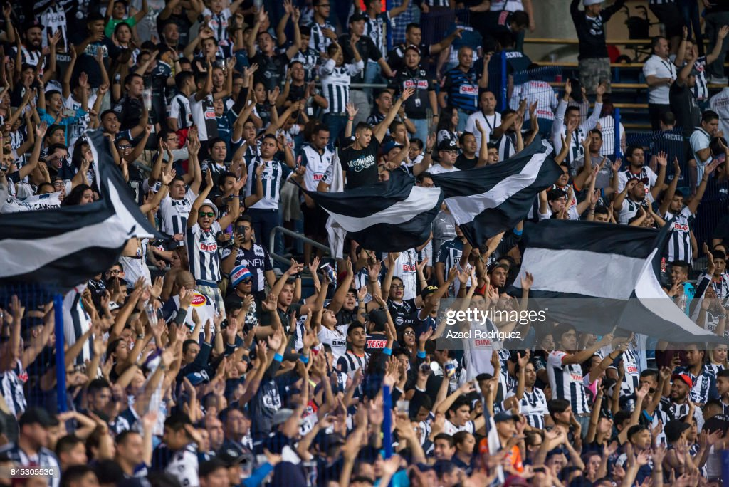 Fans of Monterrey cheer for their team during the 8th round match between Monterrey and Necaxa as part of the Torneo Apertura 2017 Liga MX at BBVA Bancomer Stadium on September 9, 2017 in Monterrey, Mexico.