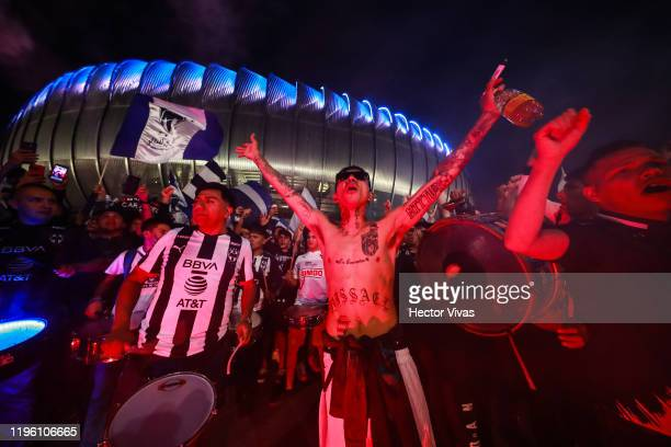 Fans of Monterrey cheer outside the stadium prior the Final first leg match between Monterrey and America as part of the Torneo Apertura 2019 Liga MX...