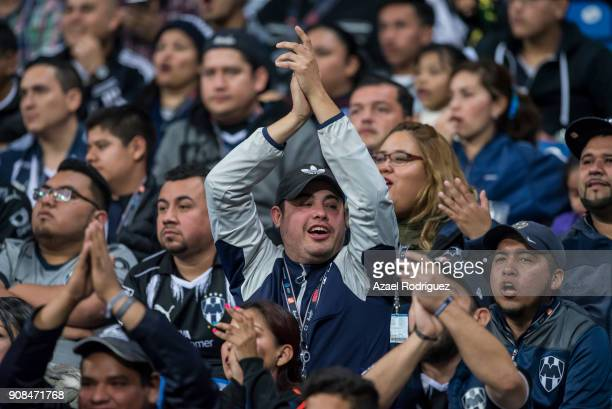 Fans of Monterrey cheer their team during the third round match between Monterrey and Tijuana as part of Torneo Clausura 2018 Liga MX at BBVA...