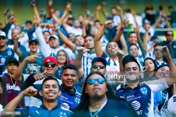 Fans of Monterrey pose during the 13th round match between Toluca and Monterrey as part of the Torneo Clausura 2019 Liga MX at Nemesio Diez Stadium...