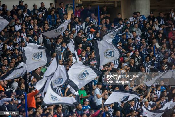 Fans of Monterrey wave flags during the third round match between Monterrey and Tijuana as part of Torneo Clausura 2018 Liga MX at BBVA Bancomer...