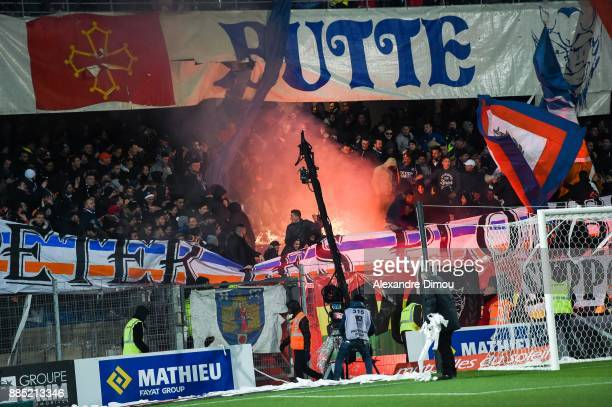 Fans of Montpellier during the Ligue 1 match between Montpellier Herault SC and Olympique Marseille at Stade de la Mosson on December 3 2017 in...