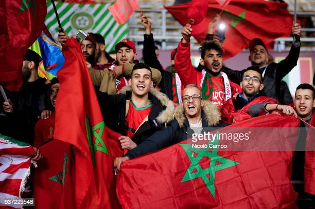 Fans of Morocco show their support prior to the International friendly football match between Morocco and Serbia Morocco won 21 over Serbia