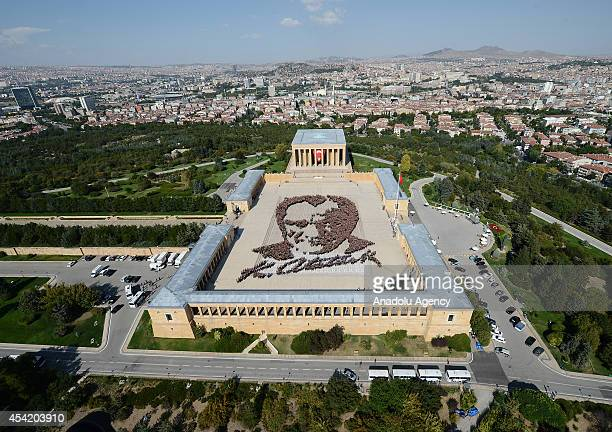 6000 fans of Mustafa Kemal Ataturk Turkish Republics founder gather to form giant Ataturk portrait at the site of Ataturk's mausoleum on the week of...