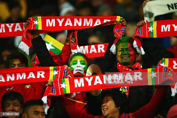Fans of Myanmar enjoy the atmosphere prior to the FIFA U-20 World Cup New Zealand 2015 Group A match between Myanmar and new Zealand at Wellington...