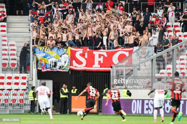 Fans of Nancy during the Ligue 1 match between OGC Nice and As Nancy Lorraine at Allianz Riviera on April 15 2017 in Nice France