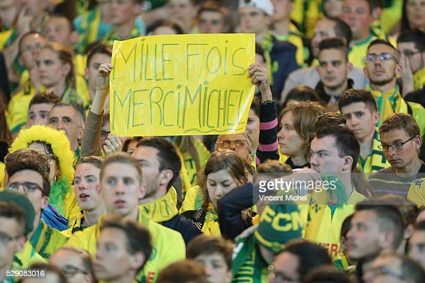 Fans of Nantes during the Football french Ligue 1 match between FC Nantes and SM Caen at Stade de la Beaujoire on May 7 2016 in Nantes France