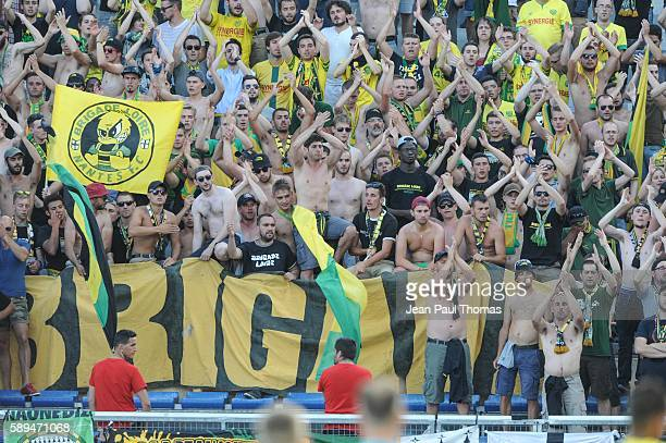 Fans of Nantes during the football Ligue 1 match between Dijon FCO and Fc Nantes at Stade Gaston Gerard on August 13 2016 in Dijon France