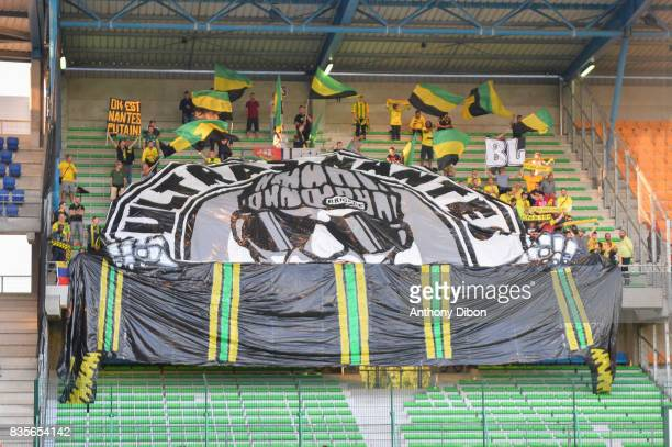 Fans of Nantes during the Ligue 1 match between Troyes Estac and FC Nantes at Stade de l'Aube on August 19 2017 in Troyes