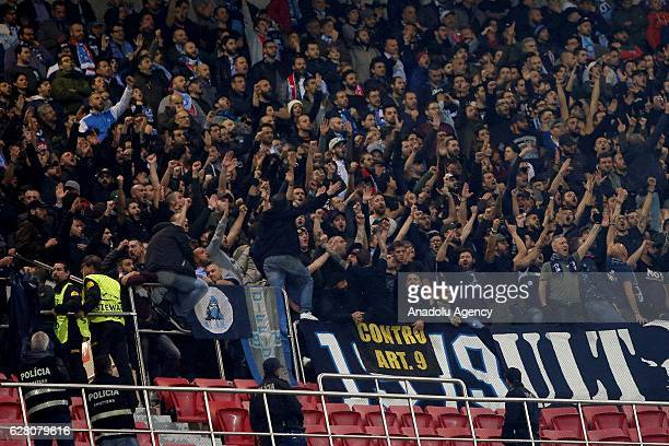 Fans of Napoli are seen during the UEFA Champions League Group B football match between SL Benfica and Napoli at Luz stadium on December 6 in Lisbon...