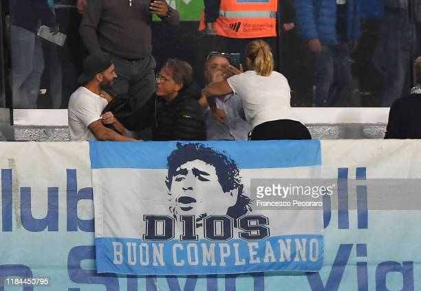 Fans of Napoli display a flag for Diego Armando Maradona's birthday before the Serie A match between SSC Napoli and Atalanta BC at Stadio San Paolo...