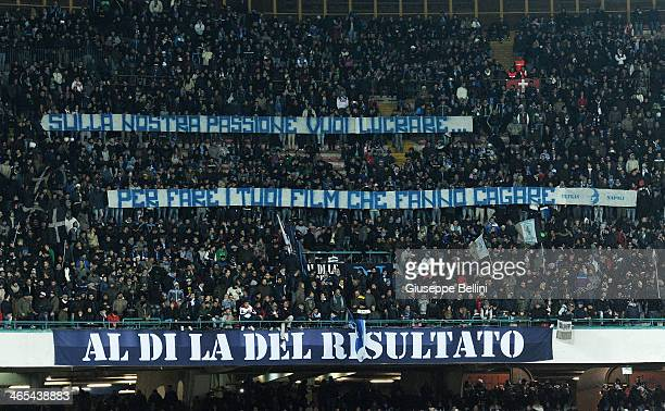 Fans of Napoli during the Serie A match between SSC Napoli and AC Chievo Verona at Stadio San Paolo on January 25 2014 in Naples Italy