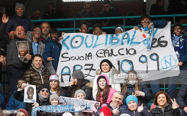 Fans of Napoli show a banner for Kalidou Koulibaly during the Serie A match between SSC Napoli and Carpi FC at Stadio San Paolo on February 7 2016 in...