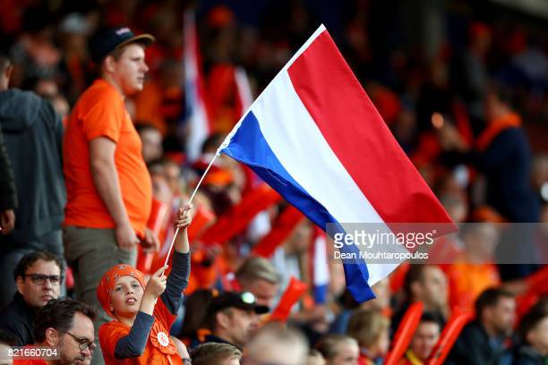 Fans of Netherlands cheer to their team before the Group A match between Belgium and Netherlands during the UEFA Women's Euro 2017 at Koning Willem...