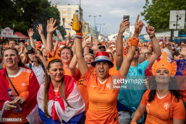 Fans of Netherlands prior to the 2019 FIFA Women's World Cup France Round Of 16 match between Netherlands and Japan at Roazhon Park on June 25 2019...