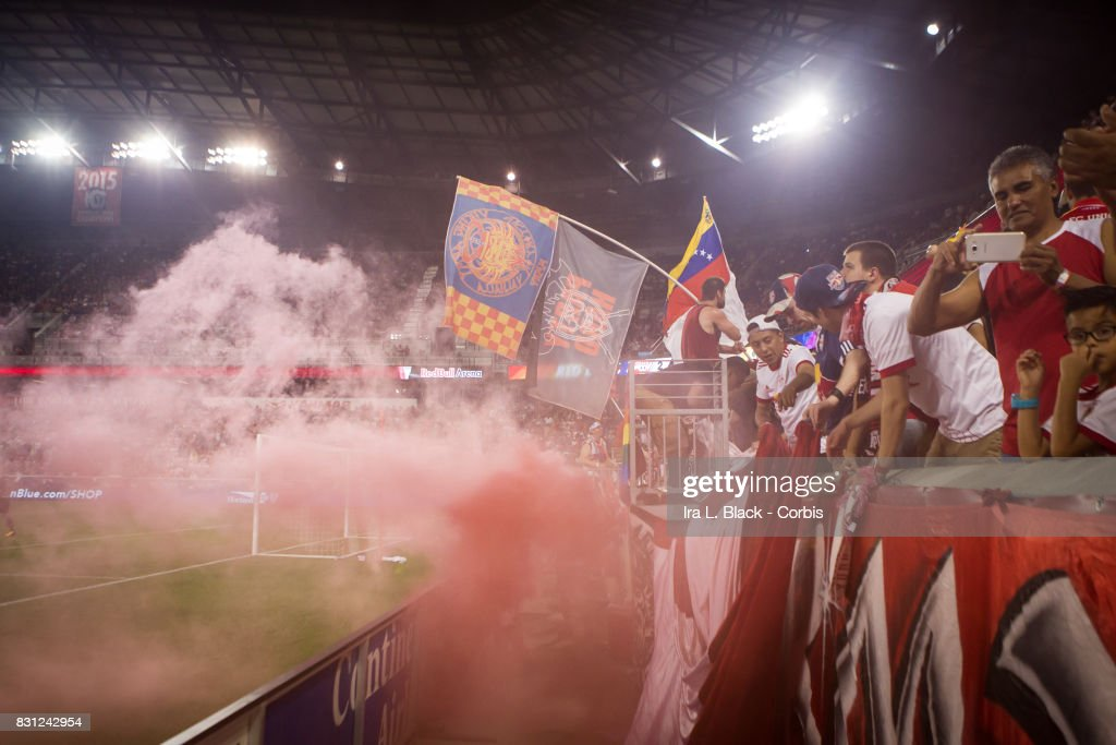 Fans of New York Red Bulls cheer after a goal during the MLS match between New York Red Bulls and Orlando City SC at the Red Bull Arena on August 12, 2017 in HARRISON, NJ. The New York Red Bulls won the match with a score of 3 to 1.
