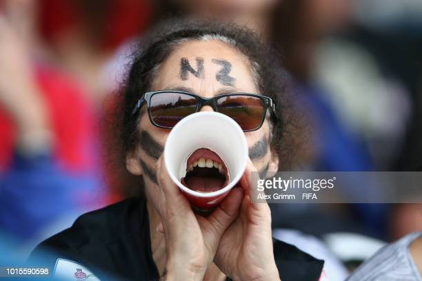 Fans of New Zealand support their team during the FIFA U20 Women's World Cup France 2018 group A match between Ghana and New Zealand at Stade...