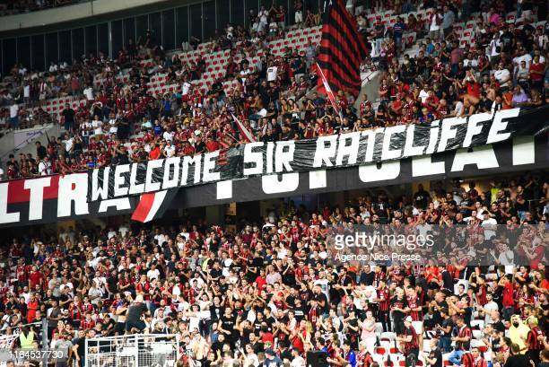 Fans of Nice banner for Sir Ratcliffe during the Ligue 1 match between OGC Nice and Olympique de Marseille on August 28, 2019 in Nice, France.