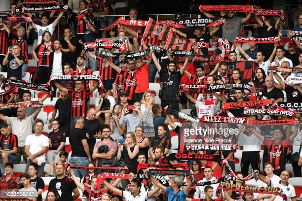 Fans of Nice during the French Ligue 1 match between Nice and Rennes on September 14 2018 in Nice France