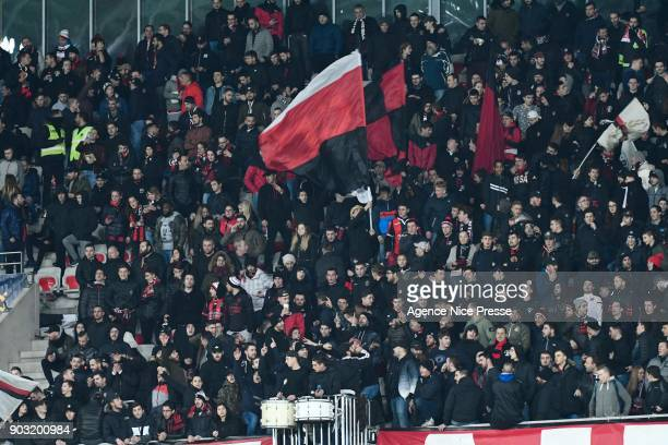 Fans of Nice during the League Cup match between Nice and Monaco at Allianz Riviera Stadium on January 9 2018 in Nice France