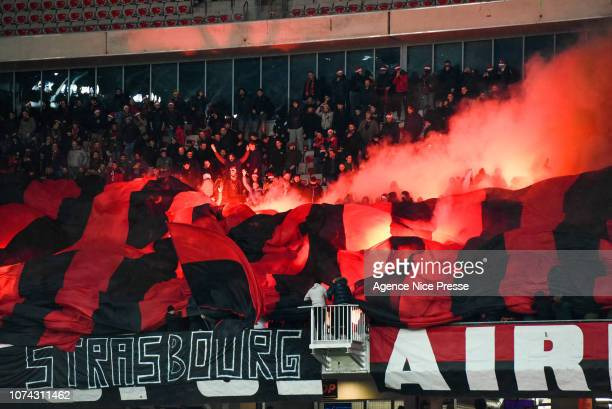 Fans of Nice during the Ligue 1 match between Nice and Saint Etienne at Allianz Riviera on December 16 2018 in Nice France