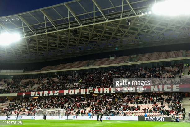 Fans of Nice during the Ligue 1 match between Nice and Toulouse at Allianz Riviera Stadium on March 15 2019 in Nice France