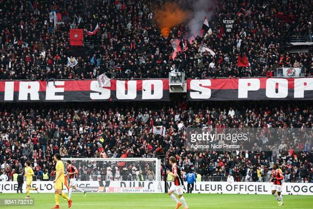 Fans of Nice during the Ligue 1 match between OGC Nice and Paris Saint Germain at Allianz Riviera on March 18 2018 in Nice