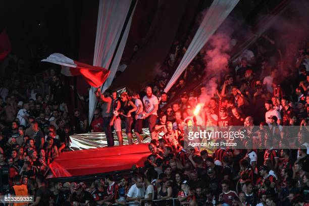 Fans of Nice during the UEFA Champions League Qualifying match between Nice and Ajax Amsterdam at Allianz Riviera Stadium on July 26 2017 in Nice...