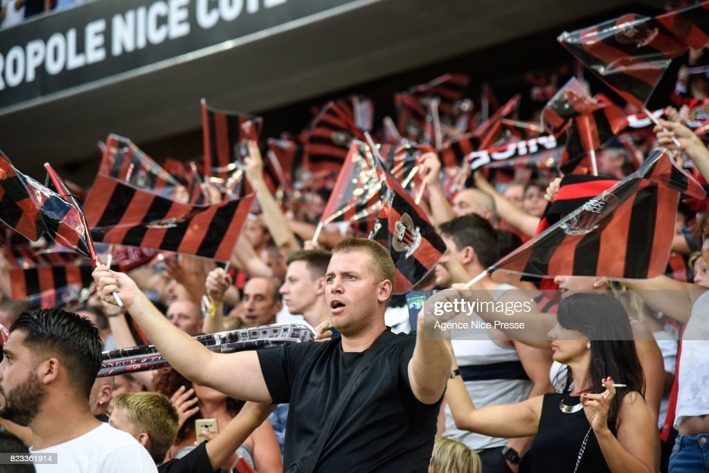 Fans of Nice during the UEFA Champions League Qualifying match between Nice and Ajax Amsterdam at Allianz Riviera Stadium on July 26, 2017 in Nice, France.