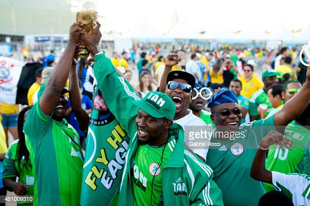 Fans of Nigeria National soccer team pose for photos prior the match between Nigeria and BosniaHerzegovina during the FIFA World Cup Brazil 2014 at...