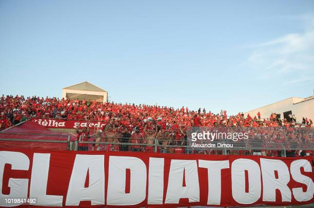 Fans of Nimes during the French Ligue 1 match between Nimes and Marseille at Stade des Costieres on August 19 2018 in Nimes France