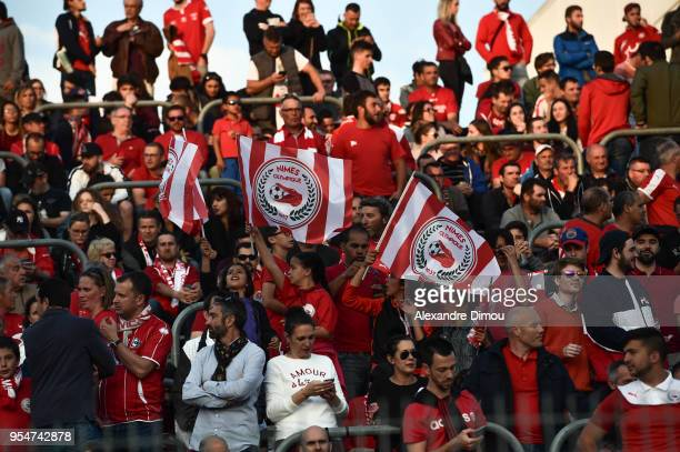 Fans of Nimes during the French Ligue 2 match between Nimes and Gazelec Ajaccio at Stade des Costieres on May 4 2018 in Nimes France