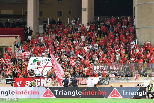 Fans of Nimes during the Ligue 1 match between AS Monaco and Nimes at Stade Louis II on September 21 2018 in Monaco Monaco