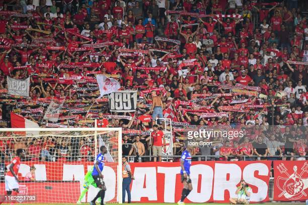 Fans of Nimes during the Ligue 1 match between Nimes Olympique and OGC Nice at Stade des Costieres on August 17, 2019 in Nimes, France.