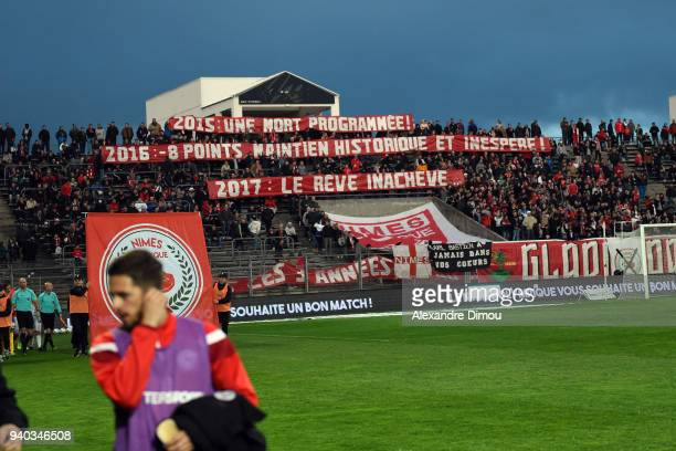 Fans of Nimes during the Ligue 2 match between Nimes and Valenciennes on March 30 2018 in Nimes France