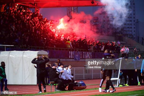 Fans of Noisy Le Grand FC celebrate after an own goal puts their side 10 ahead during the French Cup match between Noisy le Grand and Gazelec Ajaccio...
