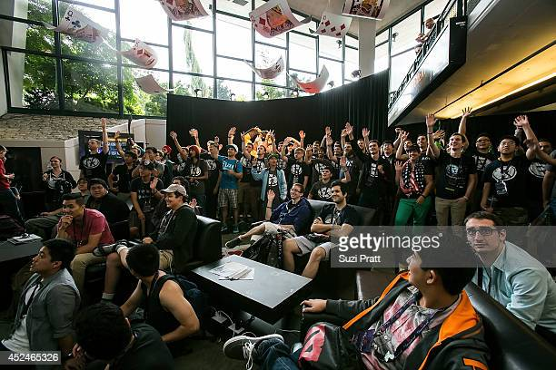 Fans of North American team Evil Geniuses gather for a group photo at The International DOTA 2 Championships on July 20 2014 in Seattle Washington