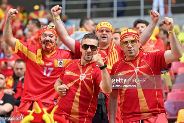 Fans of North Macedonia show their support prior to the UEFA Euro 2020 Championship Group C match between Austria and North Macedonia at National...