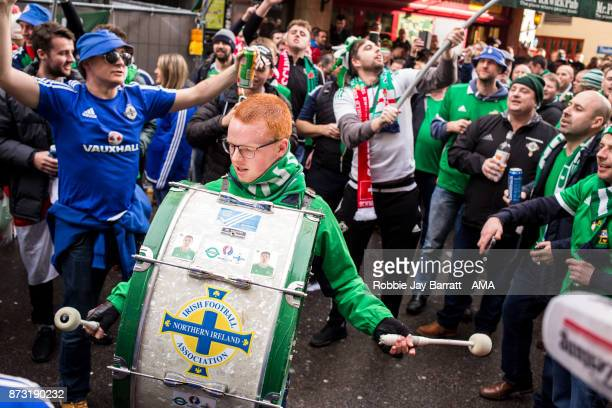 Fans of Northern Ireland congregate in the centre of Basel prior to the FIFA 2018 World Cup Qualifier PlayOff Second Leg between Switzerland and...