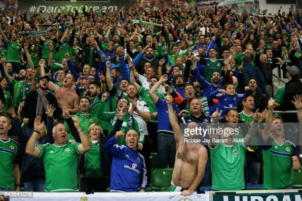 Fans of Northern Ireland during the FIFA 2018 World Cup Qualifier between Northern Ireland and Czech Republic at Windsor Park on September 4 2017 in...