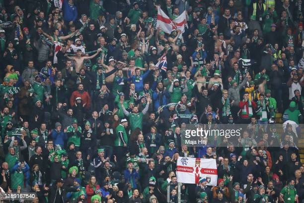 Fans of Northern Ireland during the UEFA Euro 2020 Qualifier between Germany and Northern Ireland at Commerzbank Arena on November 19, 2019 in...