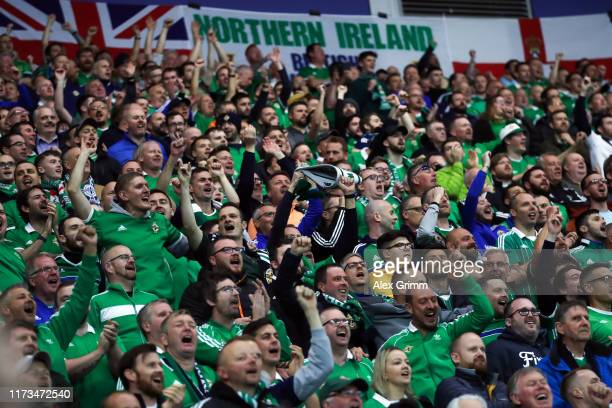 Fans of Northern Ireland support their team during the UEFA Euro 2020 qualifier match between Northern Ireland and Germany at Windsor Park on...