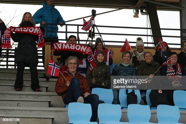 Fans of Norway during the U17 friendly match between Italy U17 and Norway U17 at Coverciano on January 18 2018 in Florence Italy