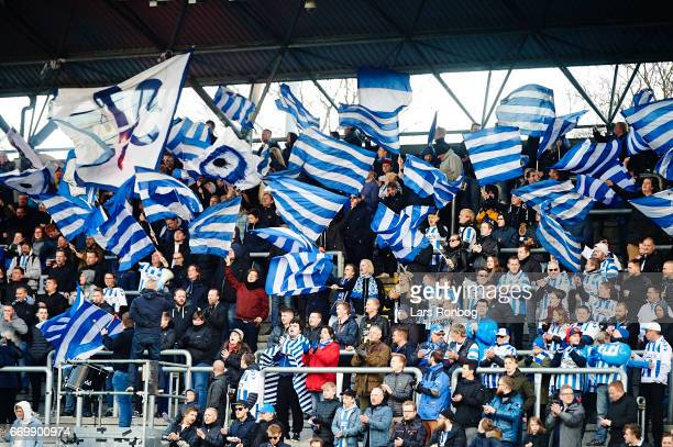 Fans of OB Odense cheer prior to the Danish Alka Superliga match between OB Odense and Randers FC at EWII Park on April 18 2017 in Odense Denmark