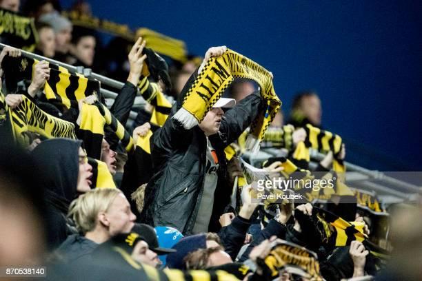 Fans of of AIK during the Allsvenskan match between Orebro SK AIK at Behrn Arena on November 5 2017 in Orebro Sweden